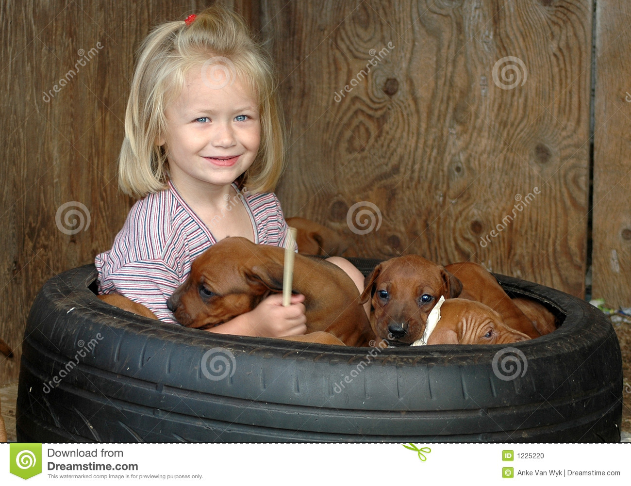 Child with puppies