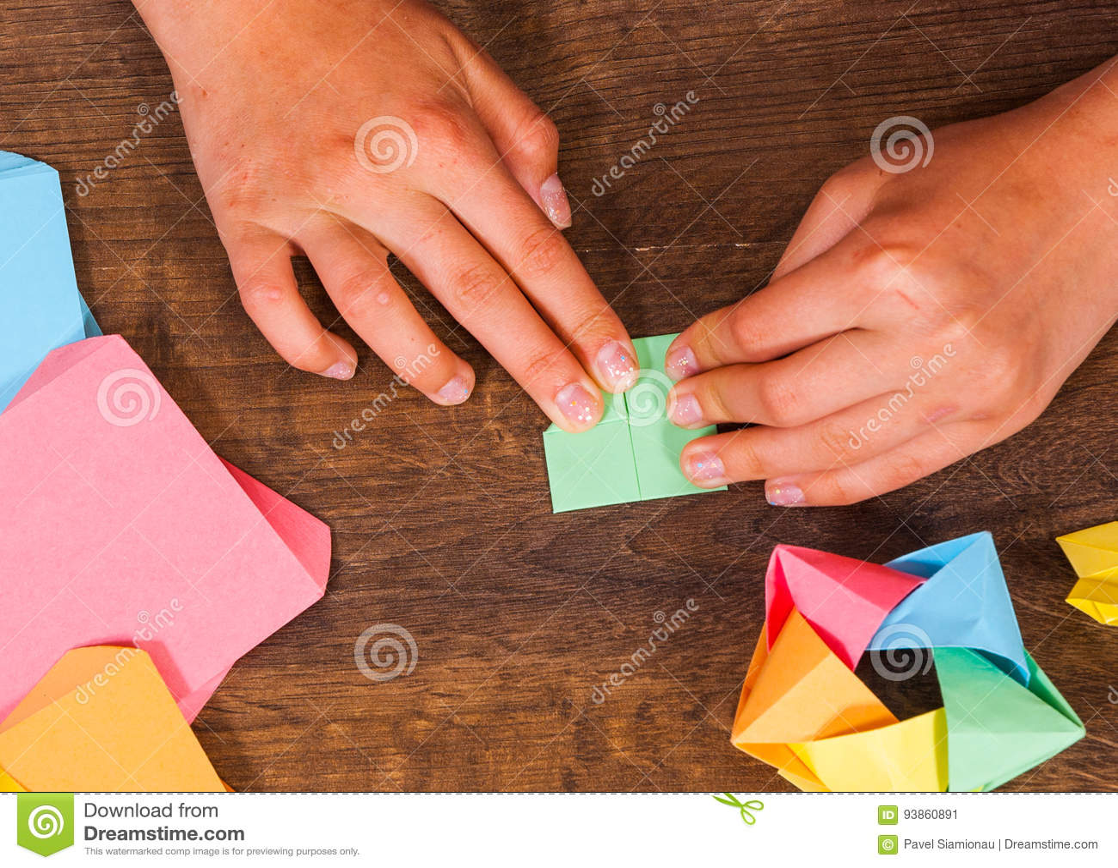 Child Puts The Modules Children S Creativity Made Of Paper Origami