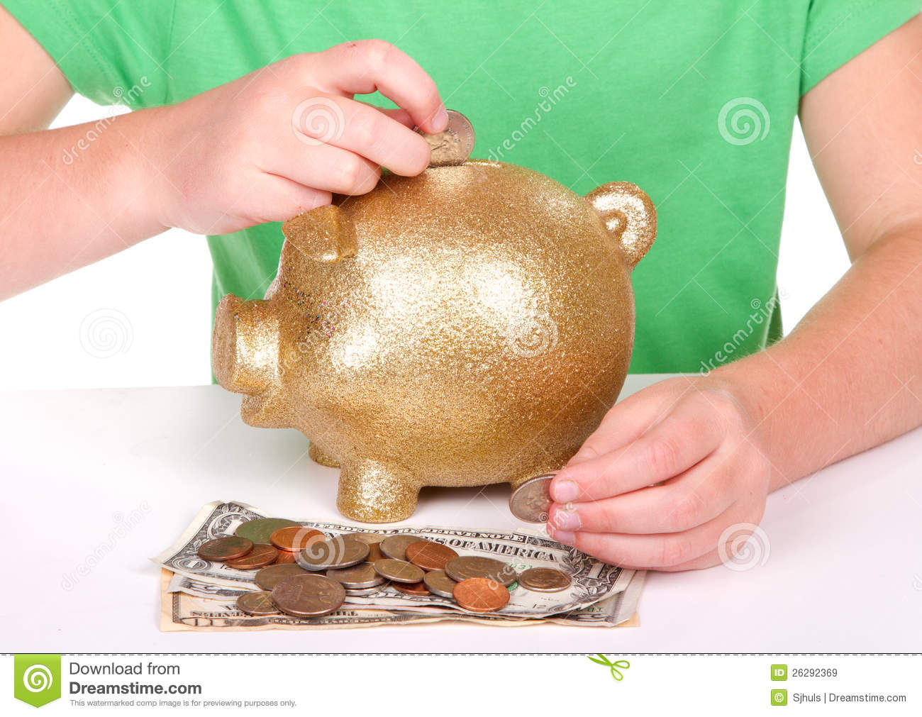 Child putting money in piggy bank stock image image for Childrens piggy bank
