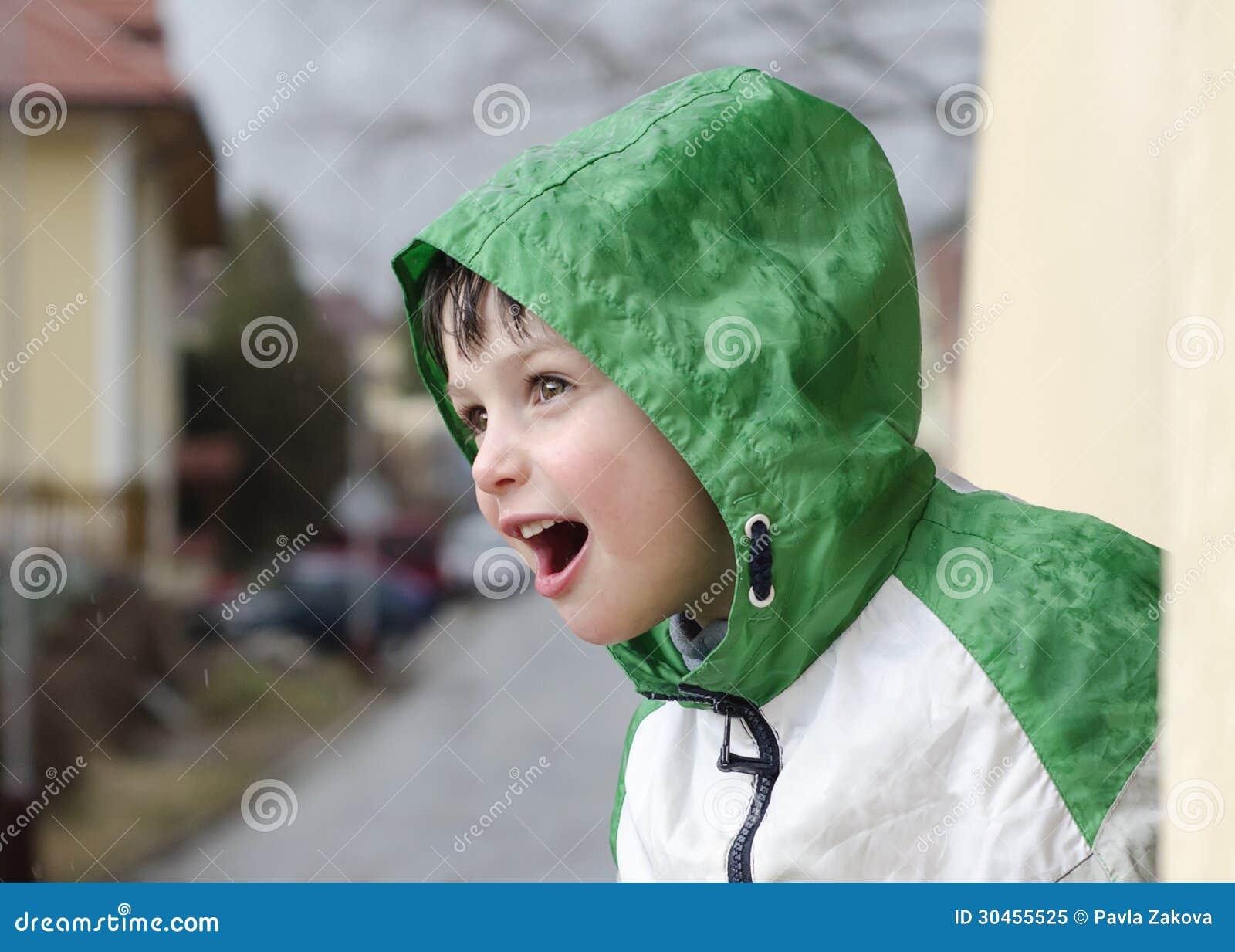 435016561 Child in rain stock image. Image of rain