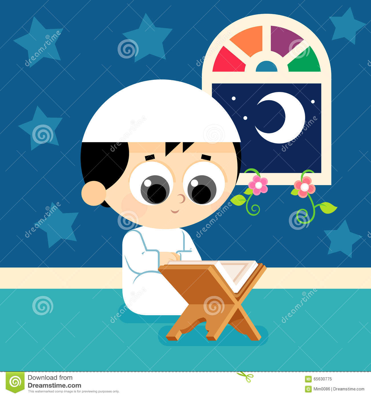 Child Reading Quran stock vector  Illustration of character - 65630775
