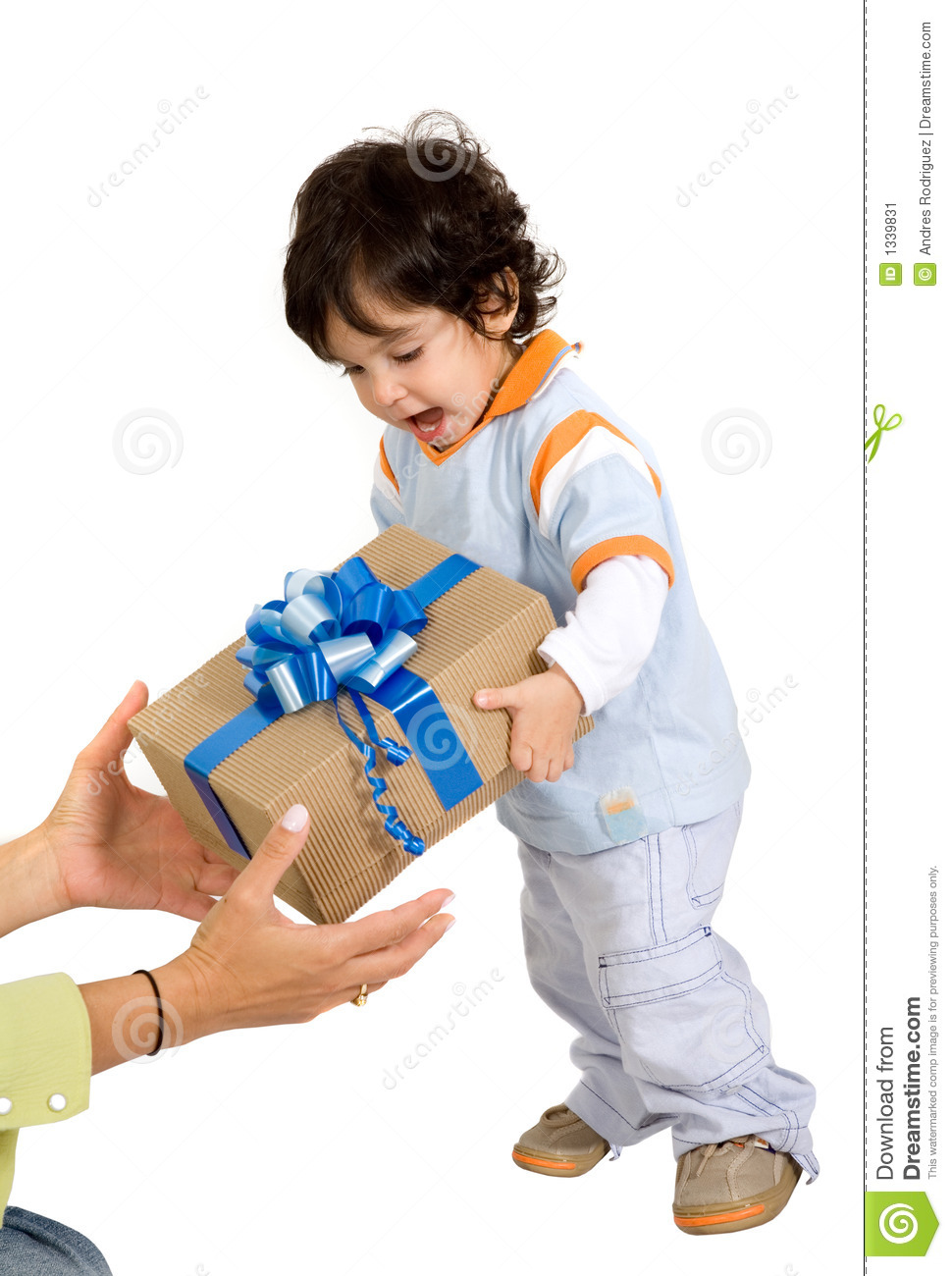 Child Receiving A Gift Stock Image - Image: 1339831