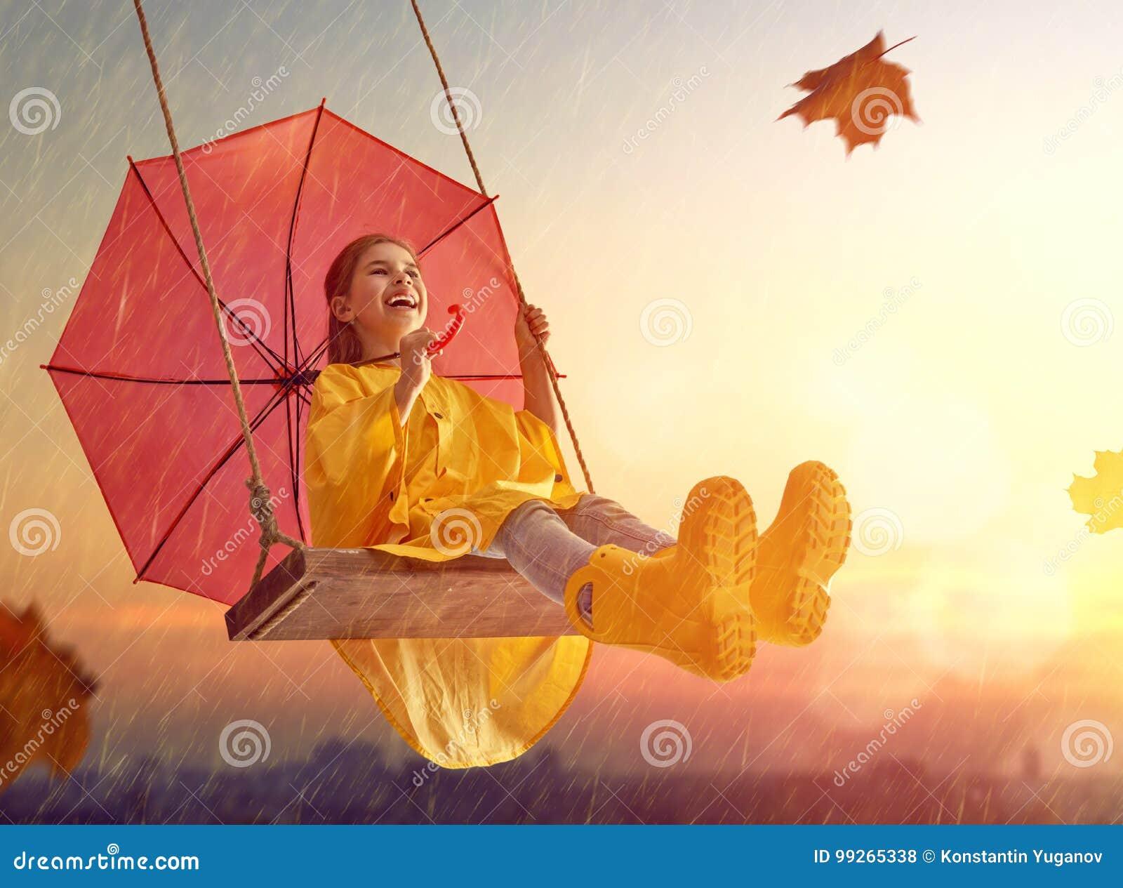 child-red-umbrella-happy-funny-under-aut