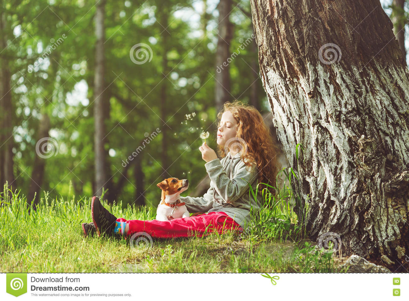 Child resting in a park under a large tree.