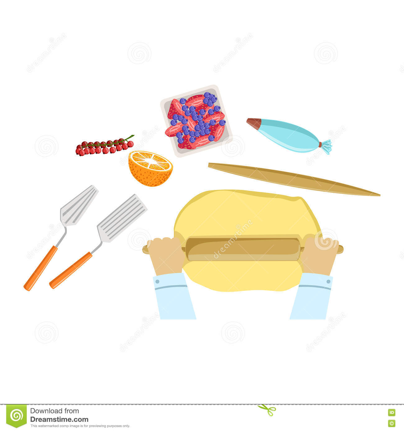Child Rolling The Dough Illustration With Only Hands