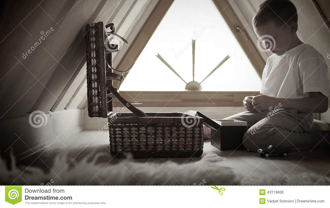 Child Room In The House Loft Boy Plays Toys From His Magic Dower