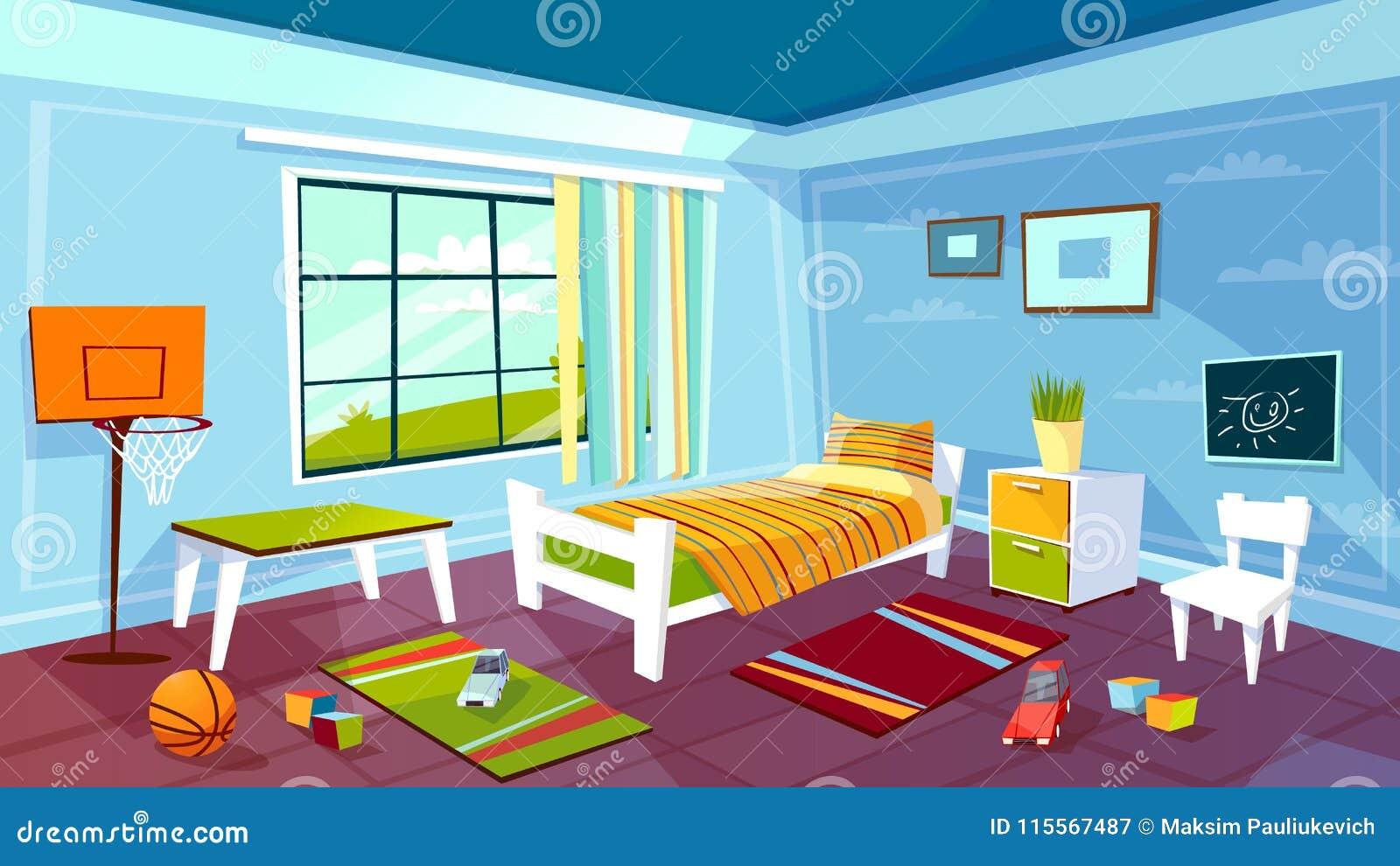 Child Room Vector Illustration Of Kid Boy Bedroom Interior Background.  Cartoon Flat Design Of Teen Children Room Furniture Bed, Drawer And Chair  On Carpet, ...