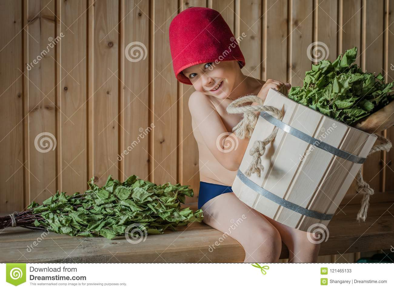 Child In A Russian Bath With A Birch Broom Stock Image - Image of ...