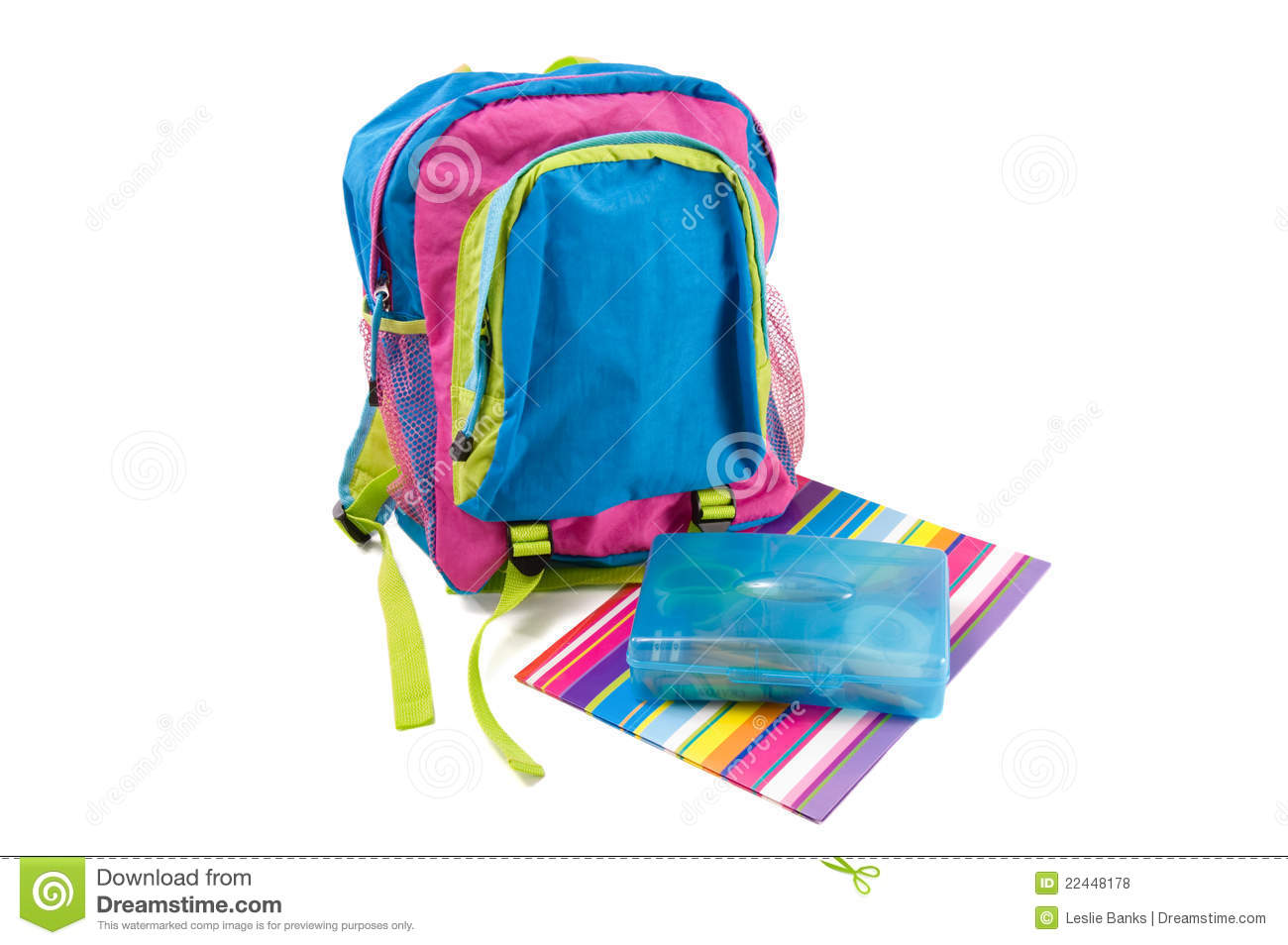 Child's Backpack With Folder And Pencil Box Royalty Free ...