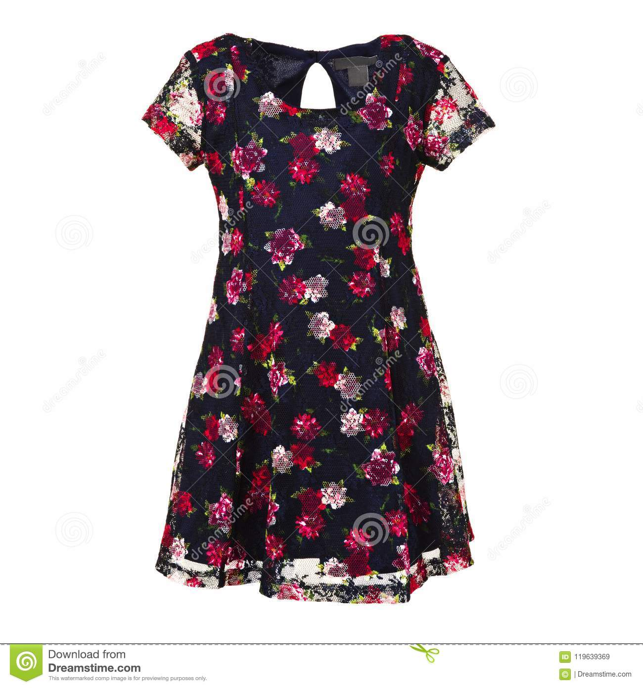 Childs blue dress with red flowers on a white background stock download childs blue dress with red flowers on a white background stock image izmirmasajfo