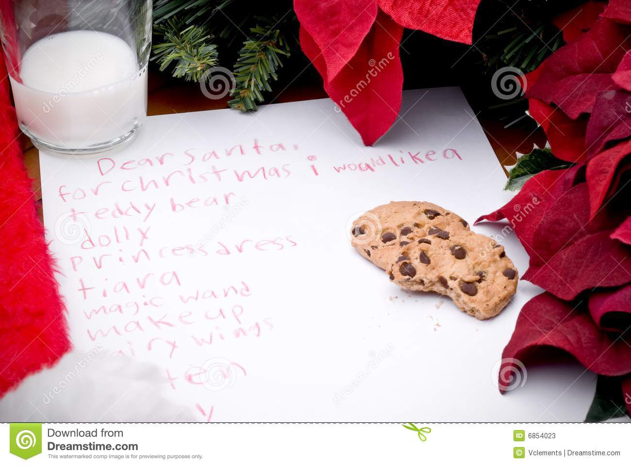 Child\'s Christmas Wish List Stock Image - Image of paper, flowers ...
