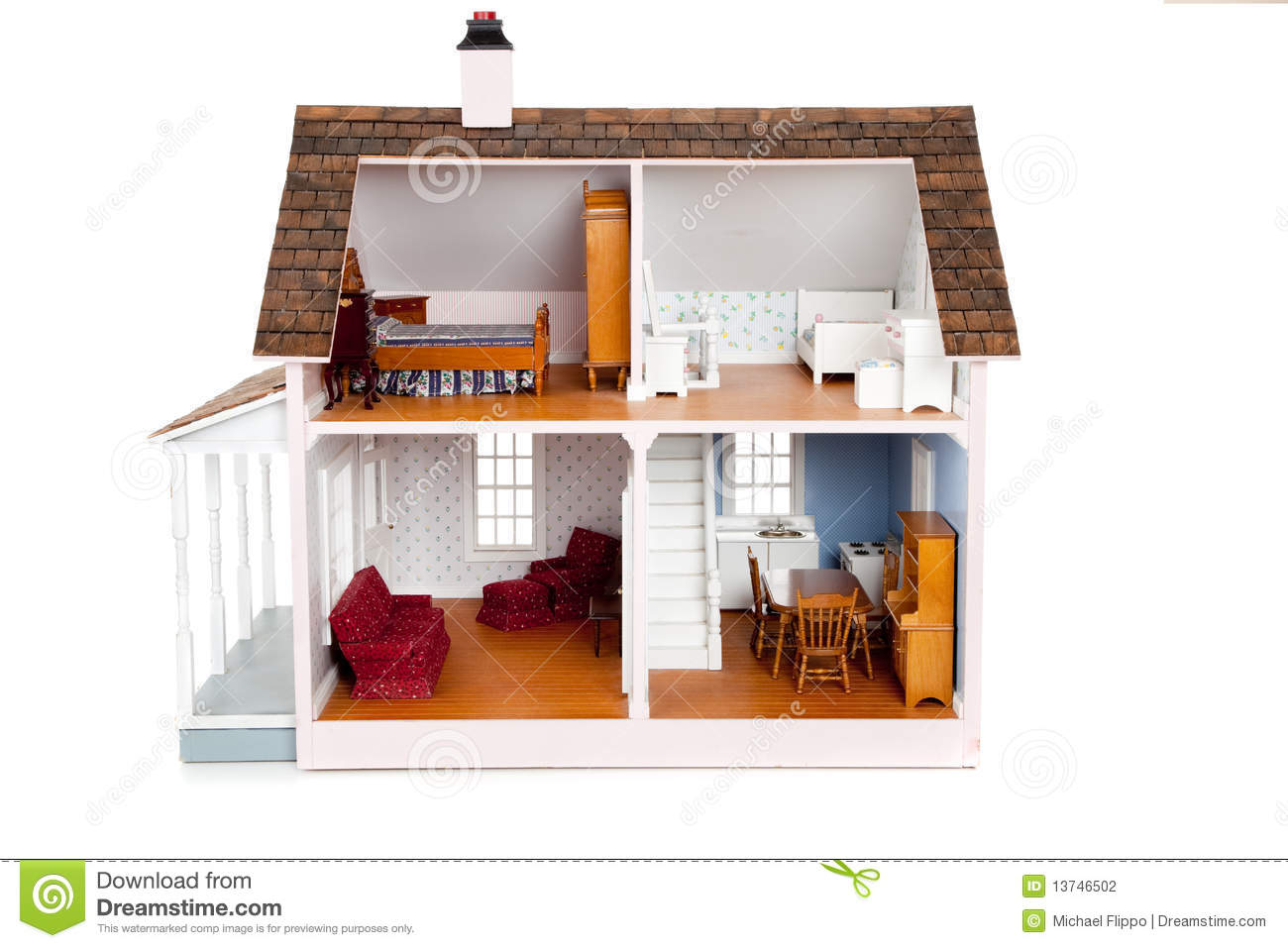 Child 39 s doll house with furniture on white stock photo for House furniture