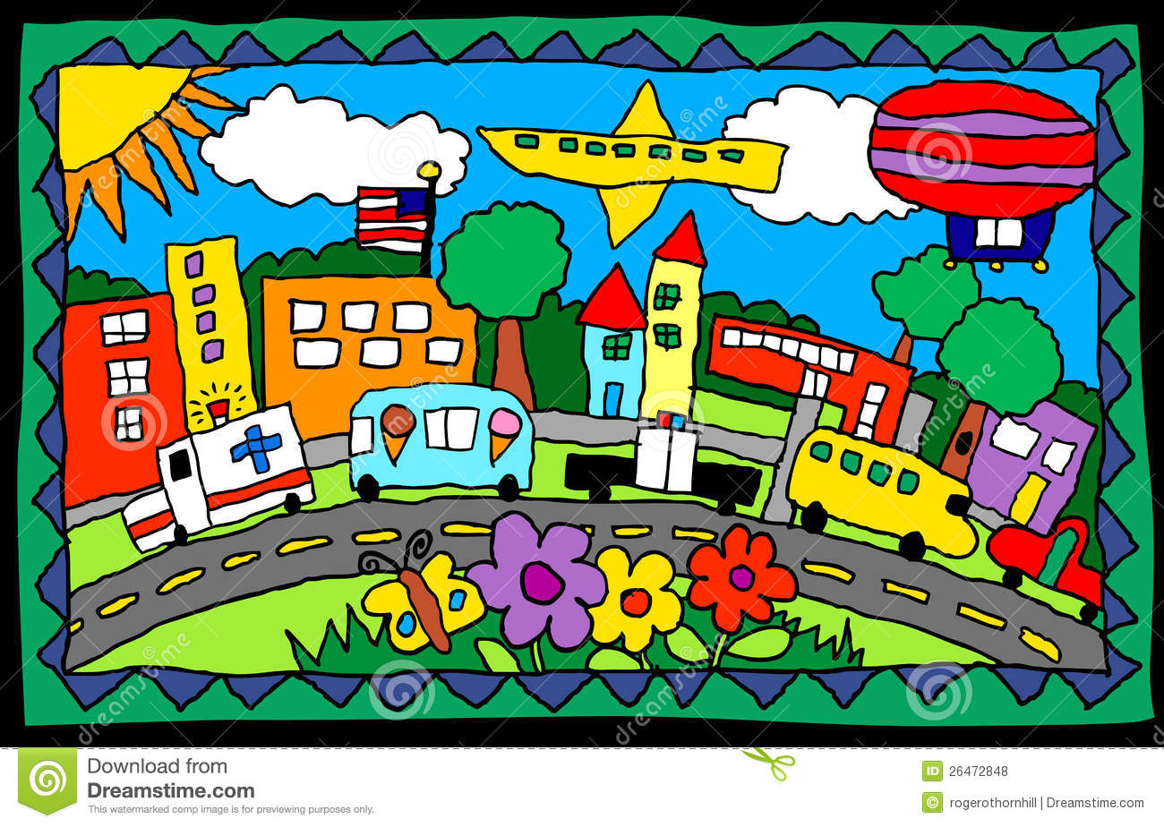 Child s drawing- busy town