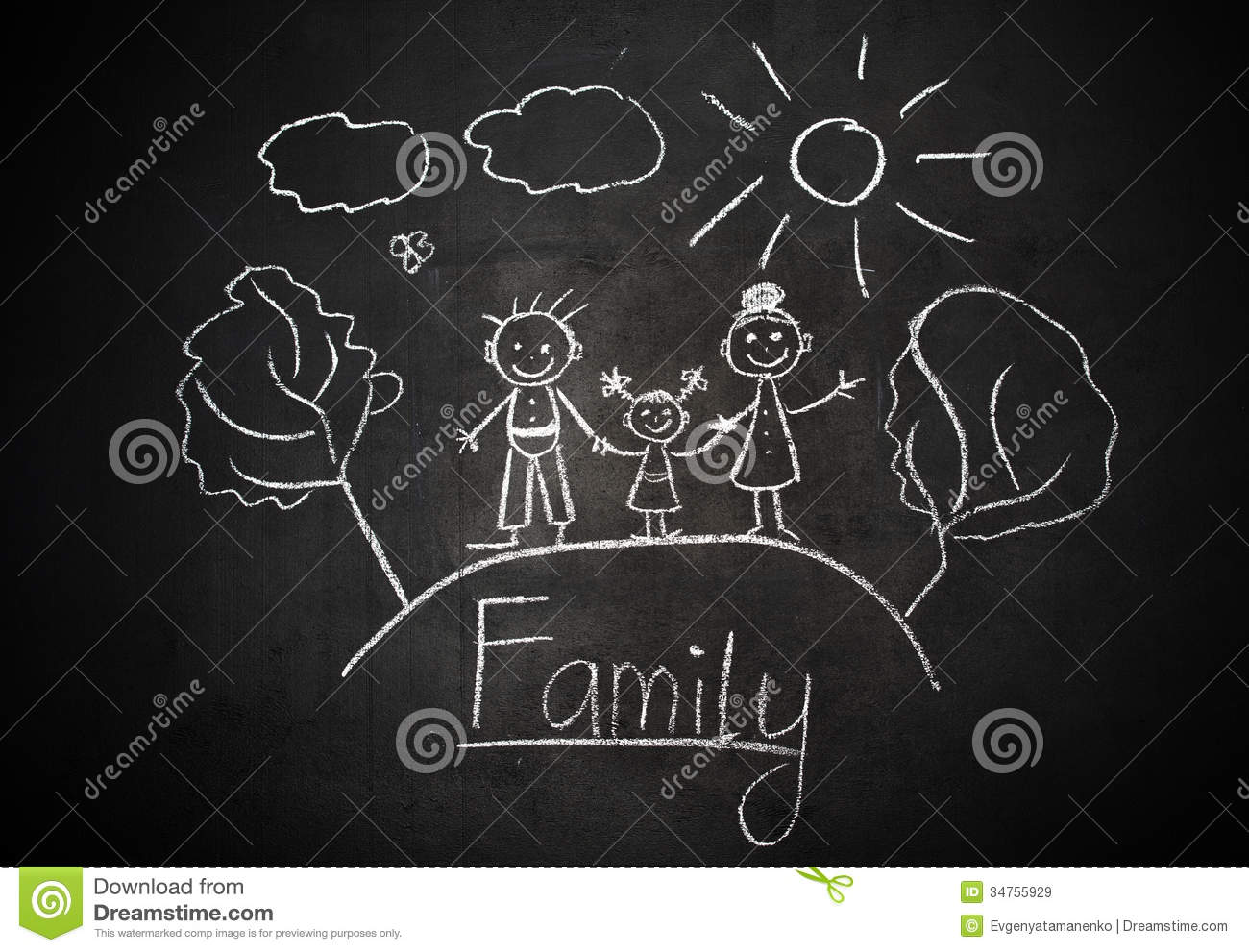 Child's Drawing With Chalk On School Blackboard Happy Family Royalty ...
