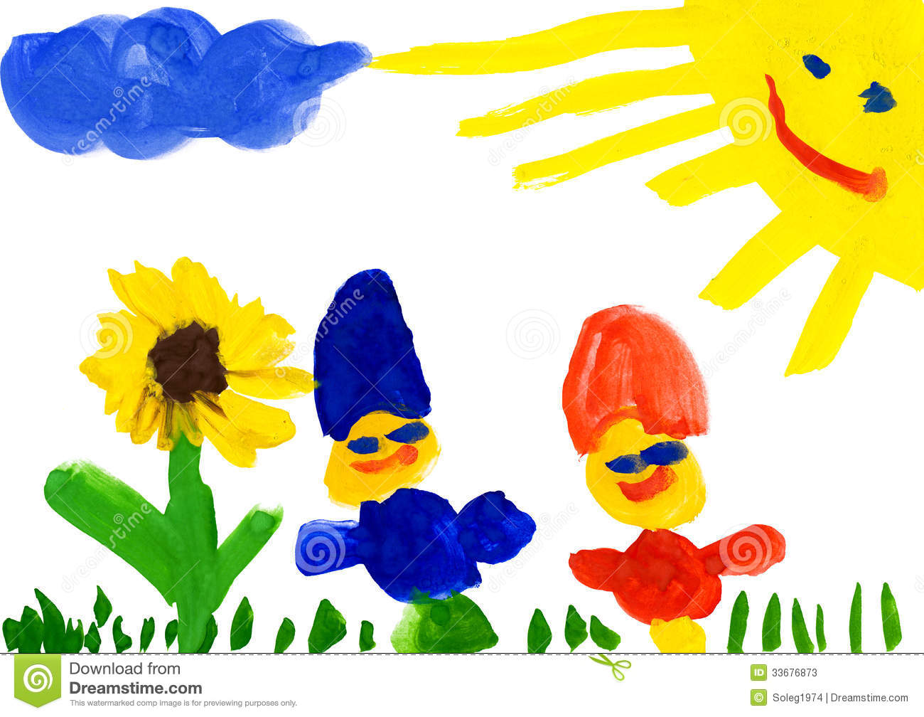Flower Child Line Drawing : Child s drawing on flower meadow stock photos