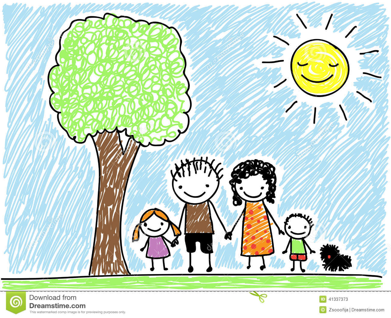 Childs Drawing Family Stock Vector Image 41337373