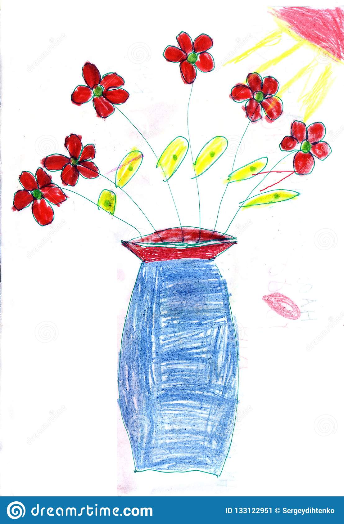 277 & Child`s Drawing Flowers In A Vase Stock Illustration ...