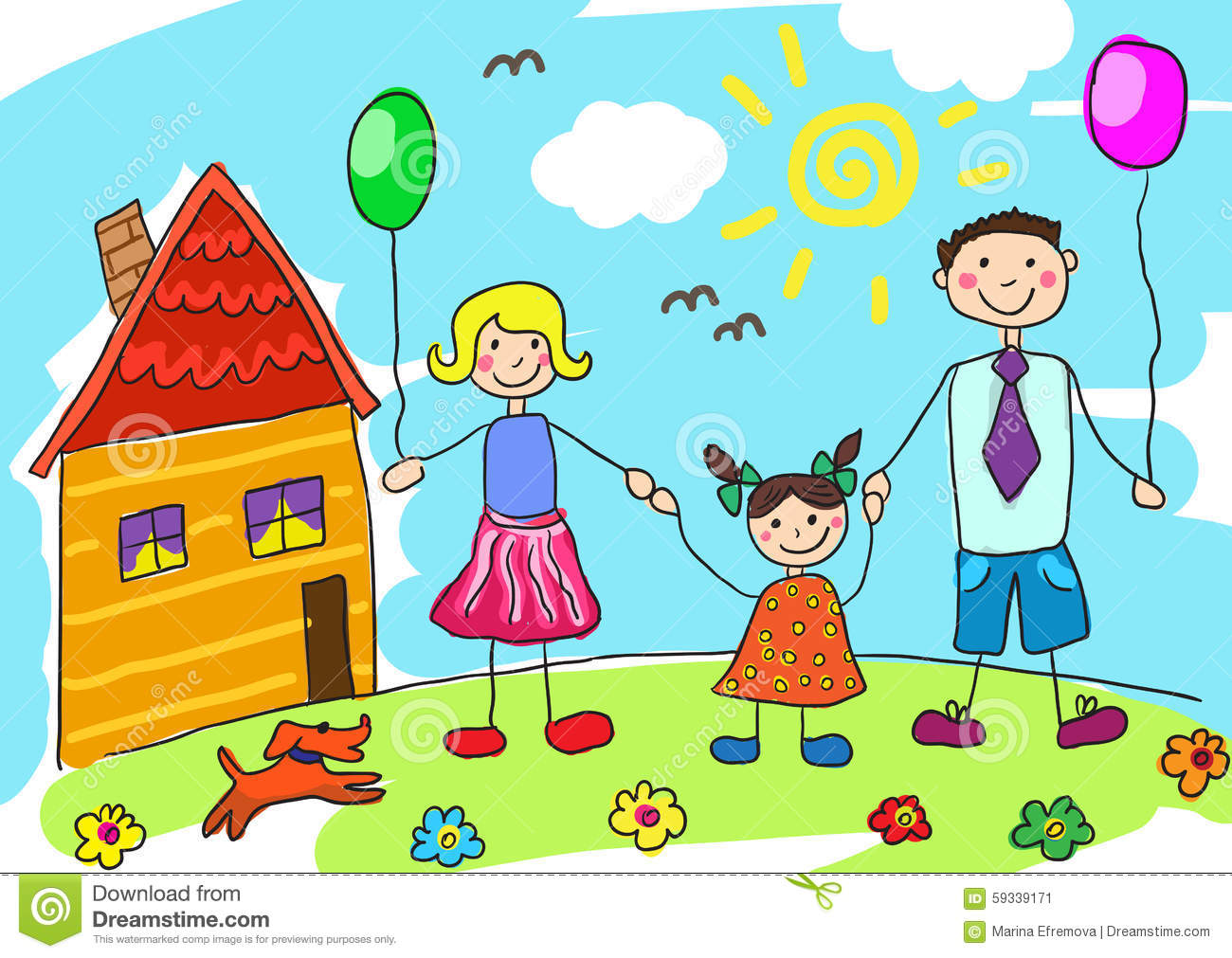 Child 39 S Drawing Happy Family With Dog Father Mother