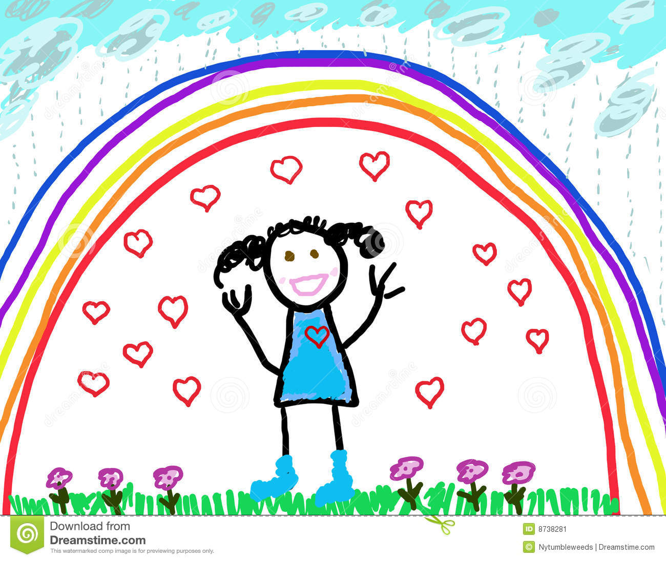 Childs Drawing Of Herself Protected amp Happy Stock Image