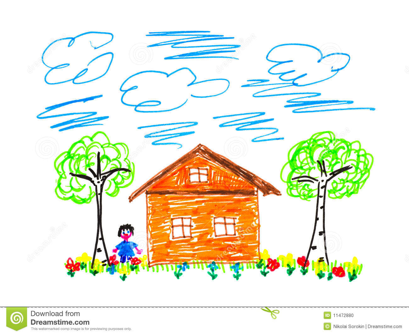 Child 39 s drawing house stock illustration image of dream for House pics for kids