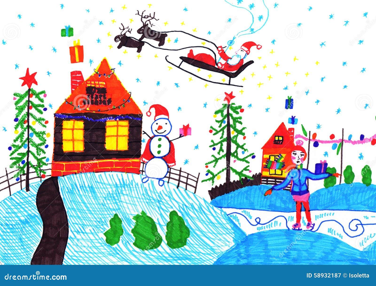 child s drawing stock illustration illustration of childhood 58932187