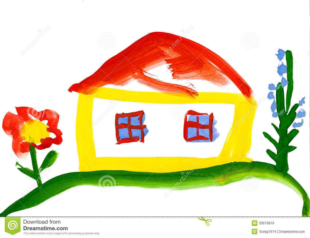 child s drawing house village watercolor 33676816