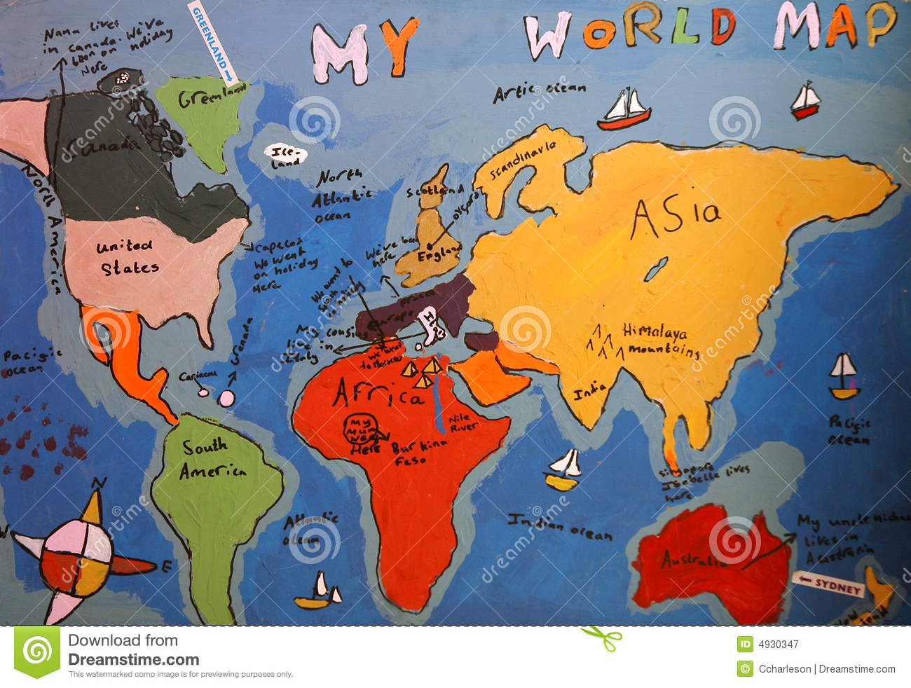 Hand Drawn Map Of The World.Child S Drawing Of Map Of The World Illustration 4930347 Megapixl