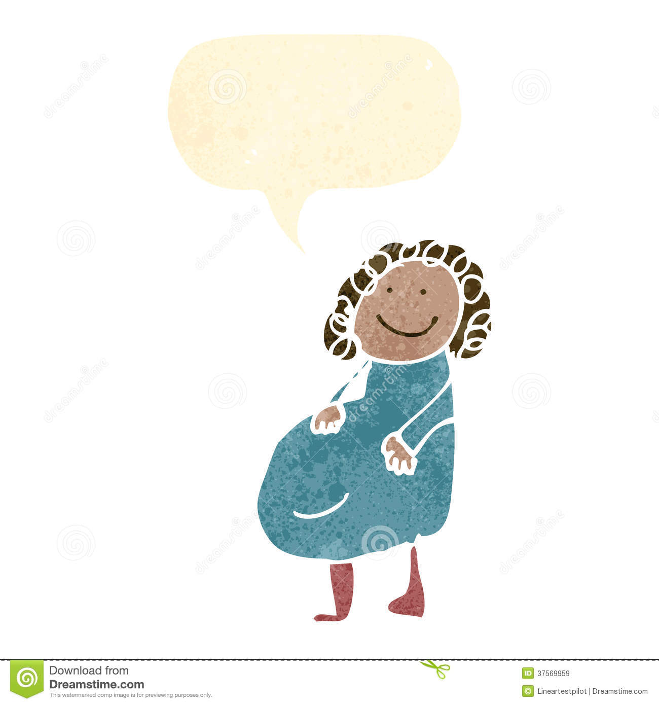 Childs Drawing Of A Pregnant Woman Stock Vector Illustration Of