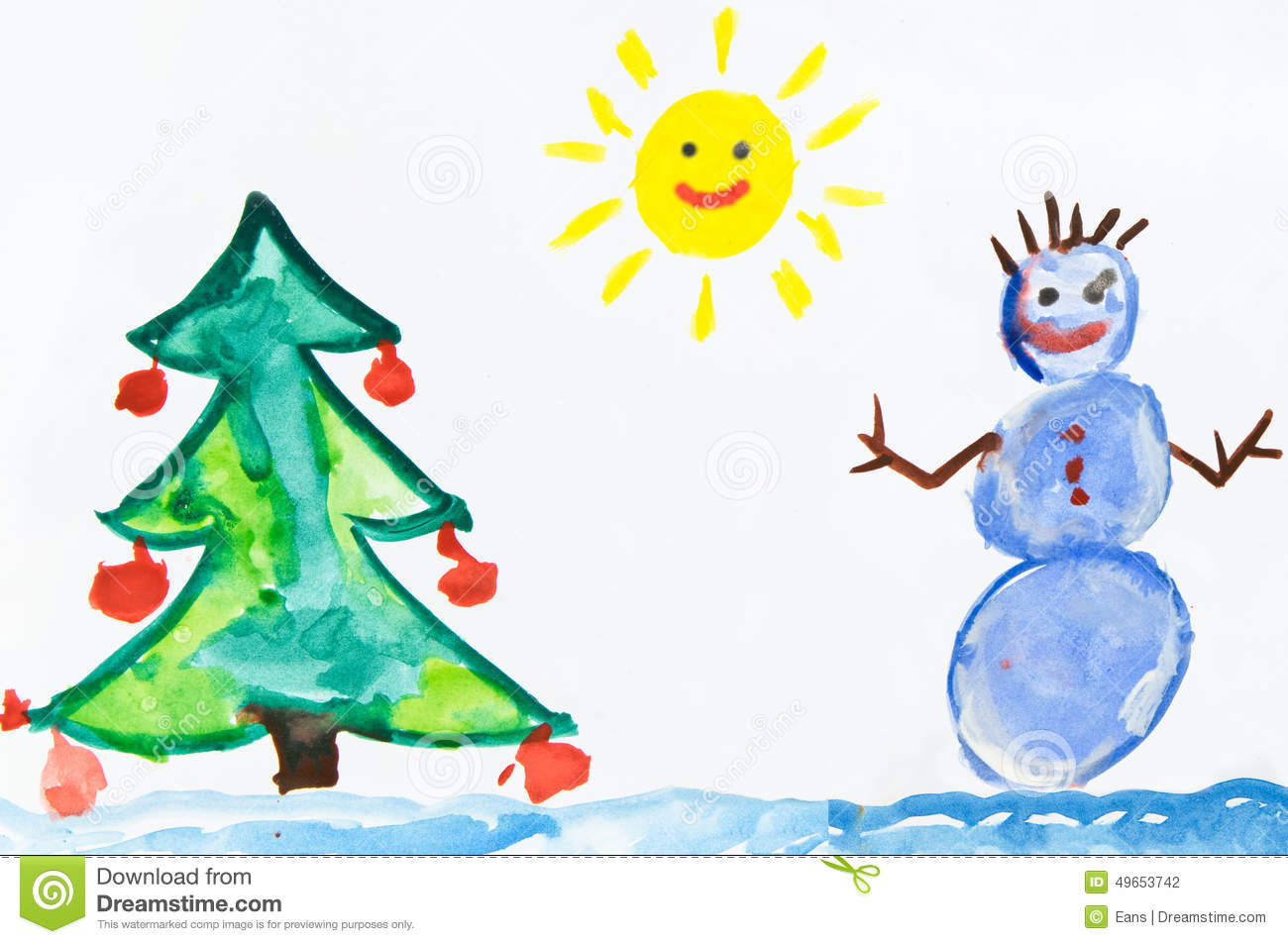 Childs Drawing With Snowman Stock Illustration Image