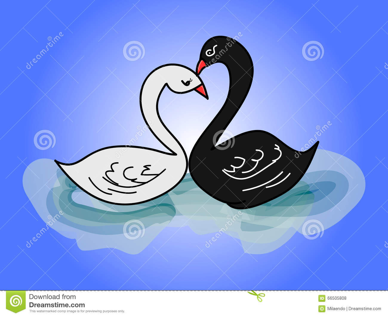 Child S Drawing Two Swans 0 Stock Vector Illustration Of Contour