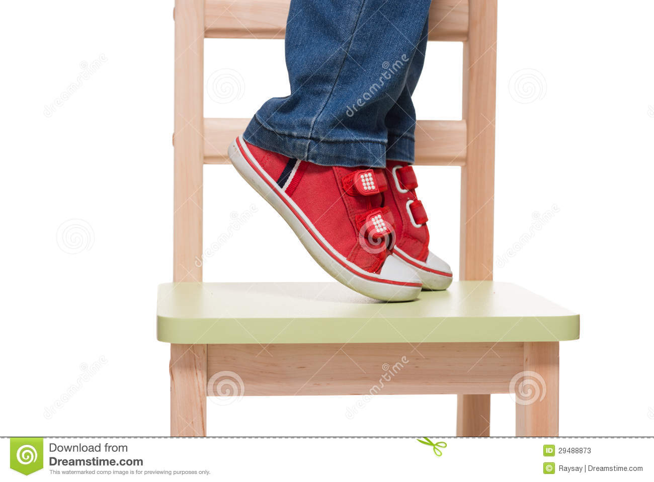 Childu0026#39;s Feet Standing On The Little Chair On Tiptoes Stock Photos - Image: 29488873