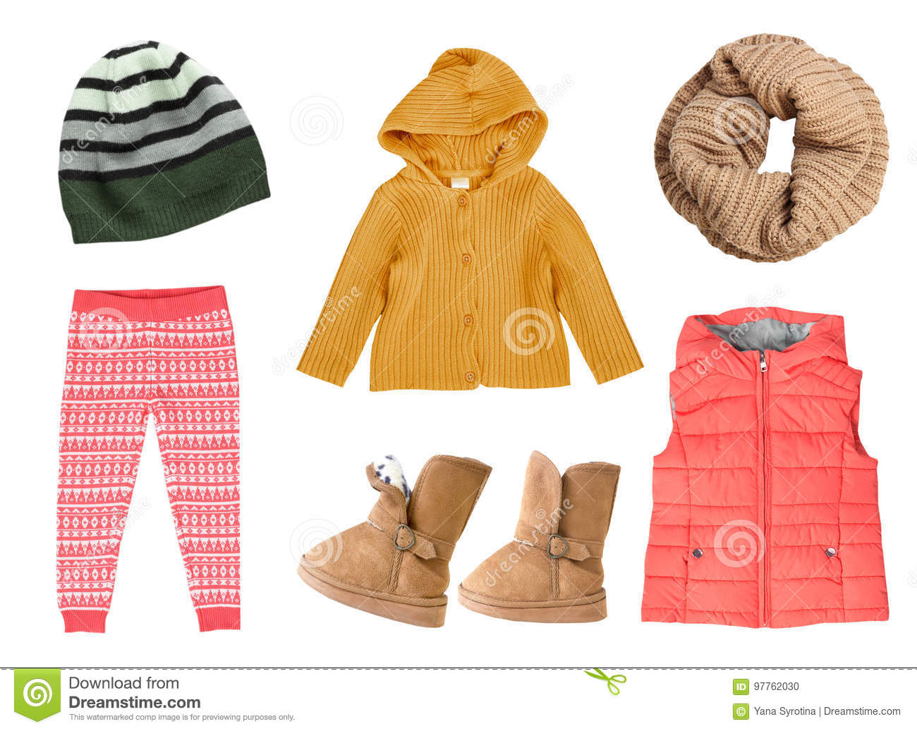 Child S Girl Fashion Autumn Knitted Clothes Collage Stock