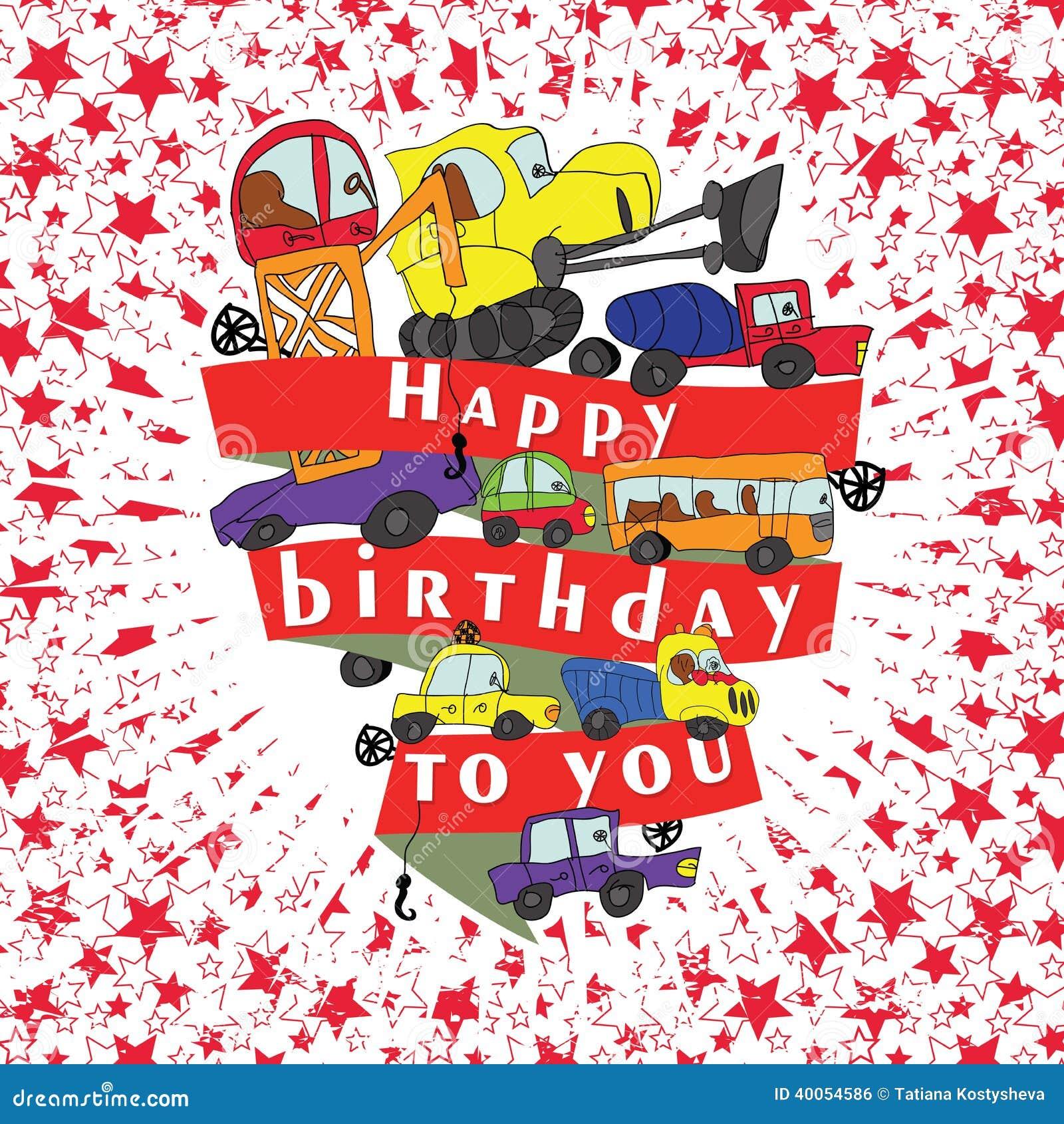 Child S Hand Draw Cars Funny Cartoon Doodle Happy Birthday