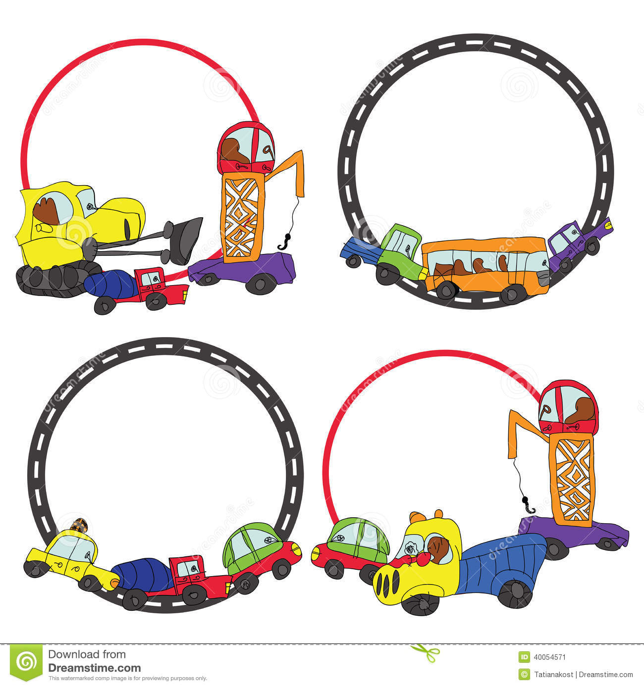 Child\'s Hand Draw Cars.Funny Doodle Circle Frame Set Stock ...