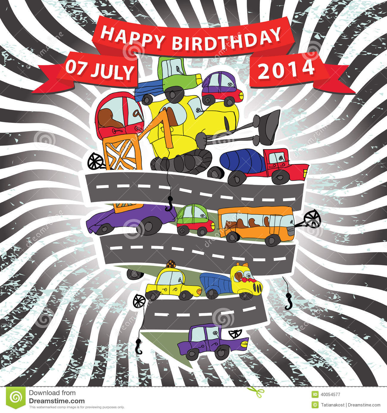 Child S Hand Draw CarsFunny Doodle CompositionHappy Birthday