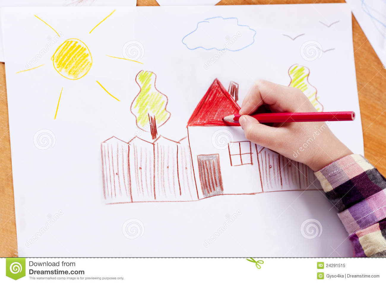 Royalty Free Stock Photo Child S Hand Drawing Image24291515 on 2d house drawing