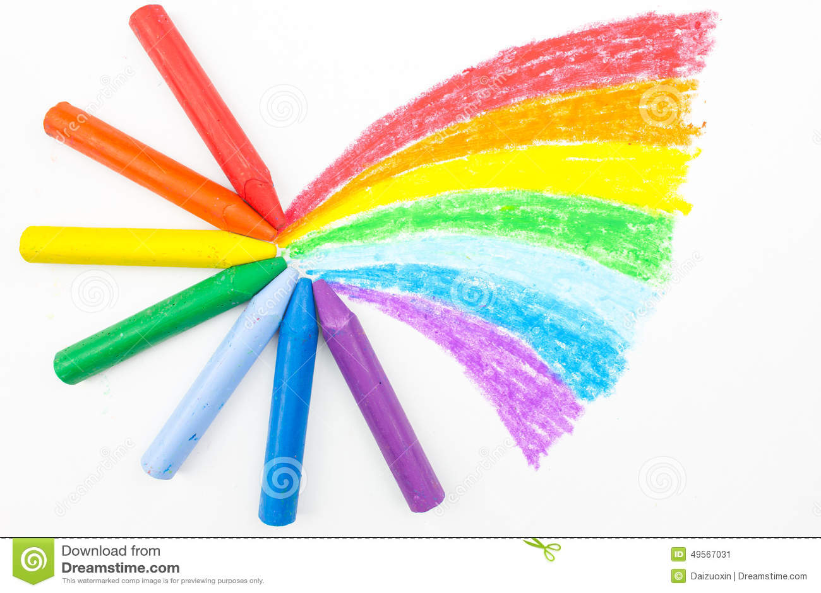 child s rainbow crayon drawing stock image image of children