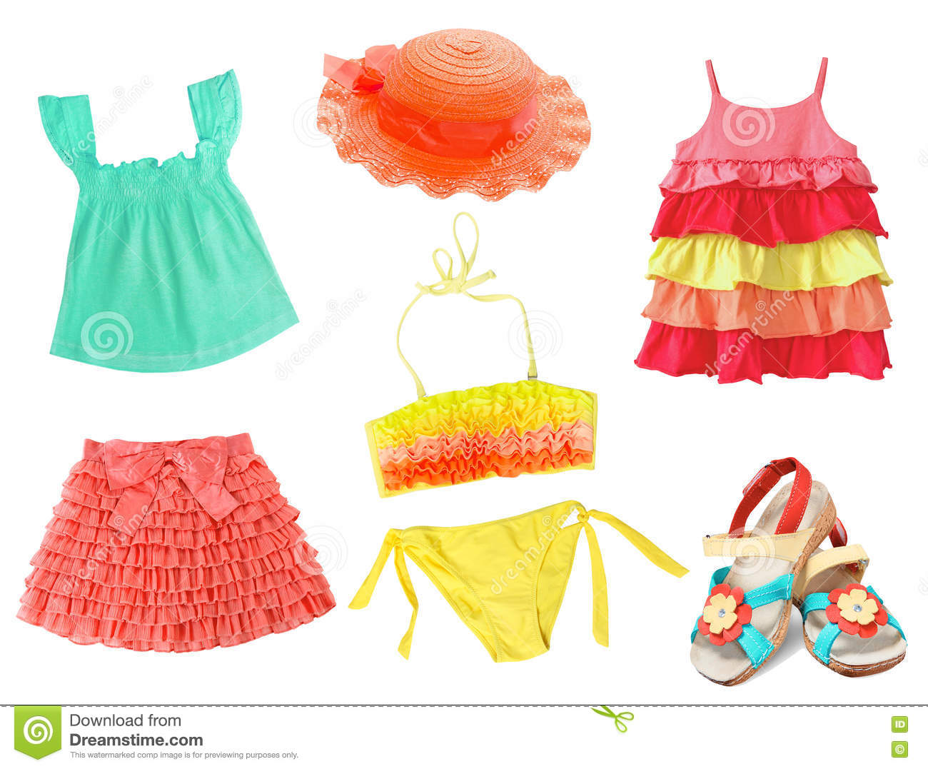 8200217ab Child's Summer Clothes Set Isolated. Stock Image - Image of cotton ...
