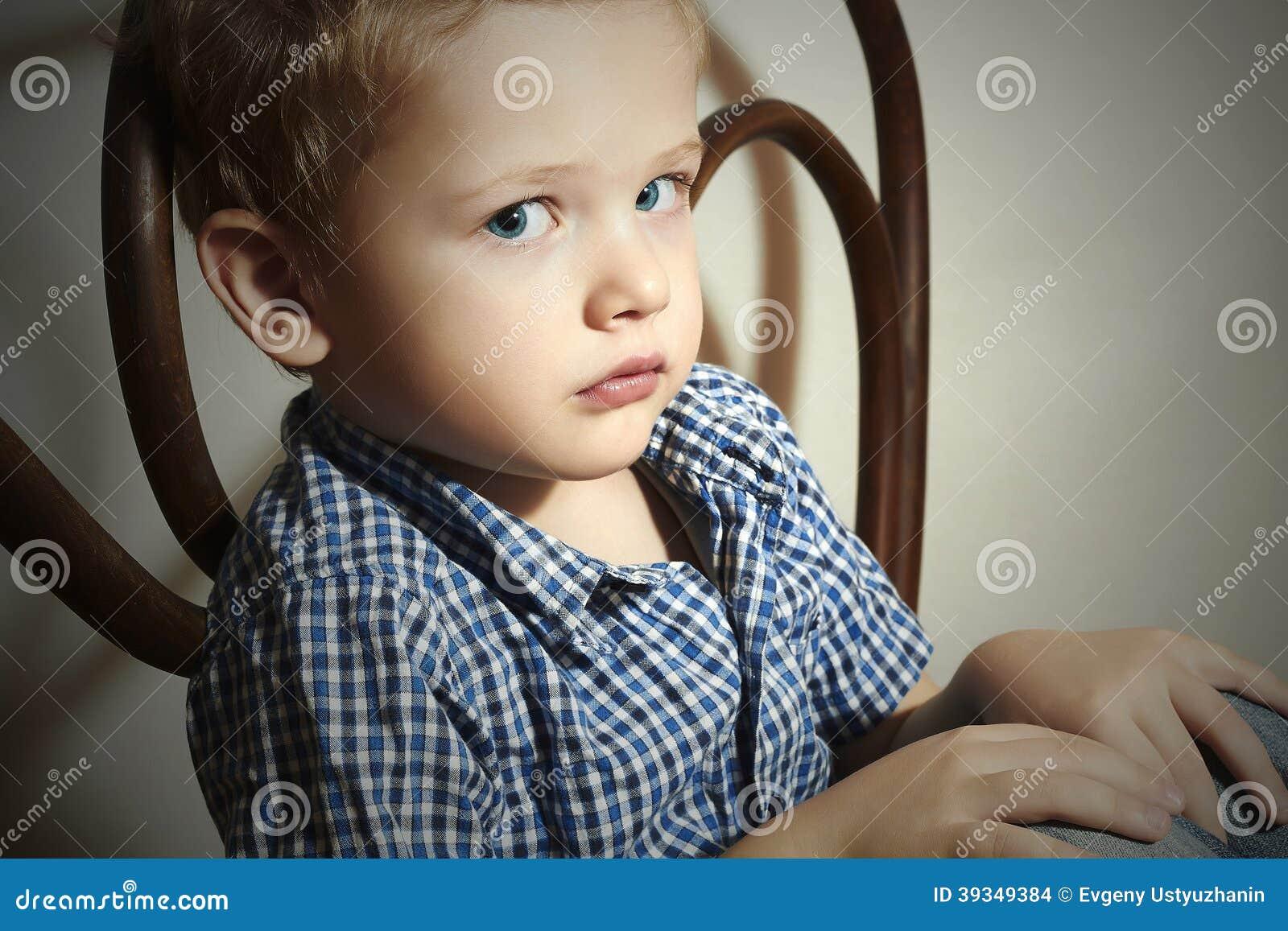 Child Sad Little Boy Fashion Children Emotion Stock Photo