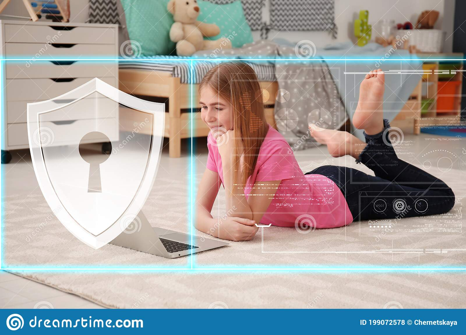 Child Safety Online Teenage Girl Using Laptop At Home Illustration Of Internet Blocking App Stock Photo Image Of Breach Information 199072578