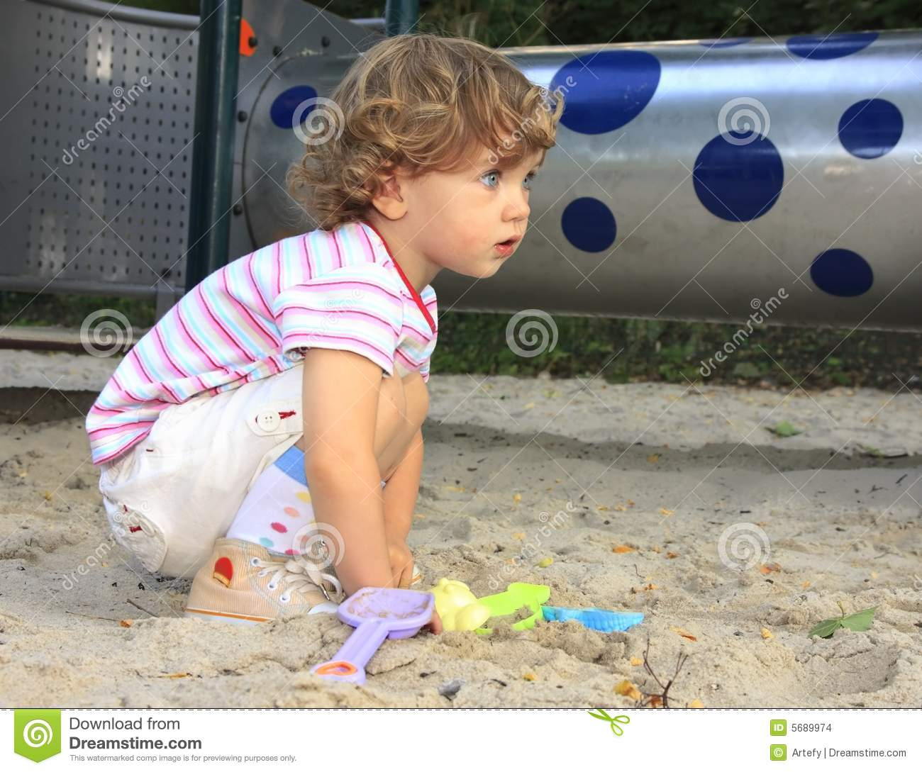Child In The Sandbox Stock Photo. Image Of Playing, Beach