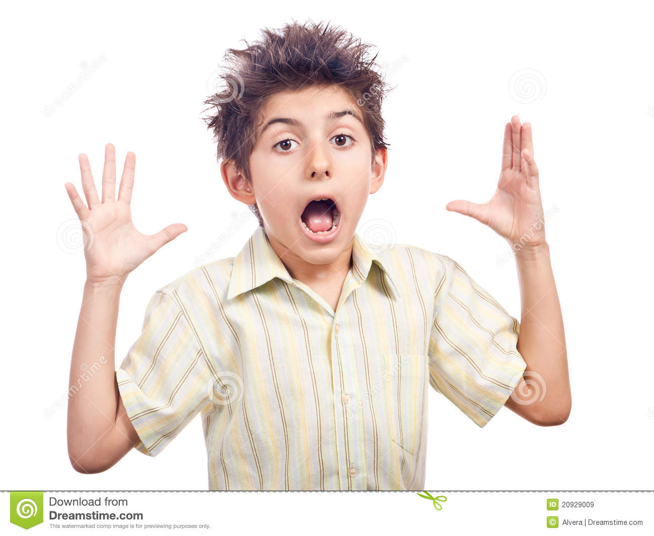 Child shocked with hands in the air and big mouth. Isolated on white ...