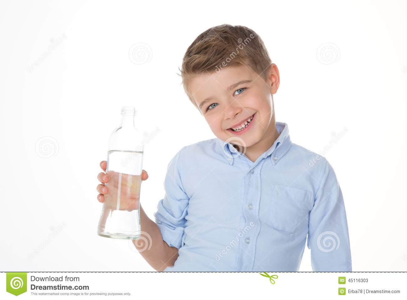 Child shows a bottle stock image. Image of expression ...