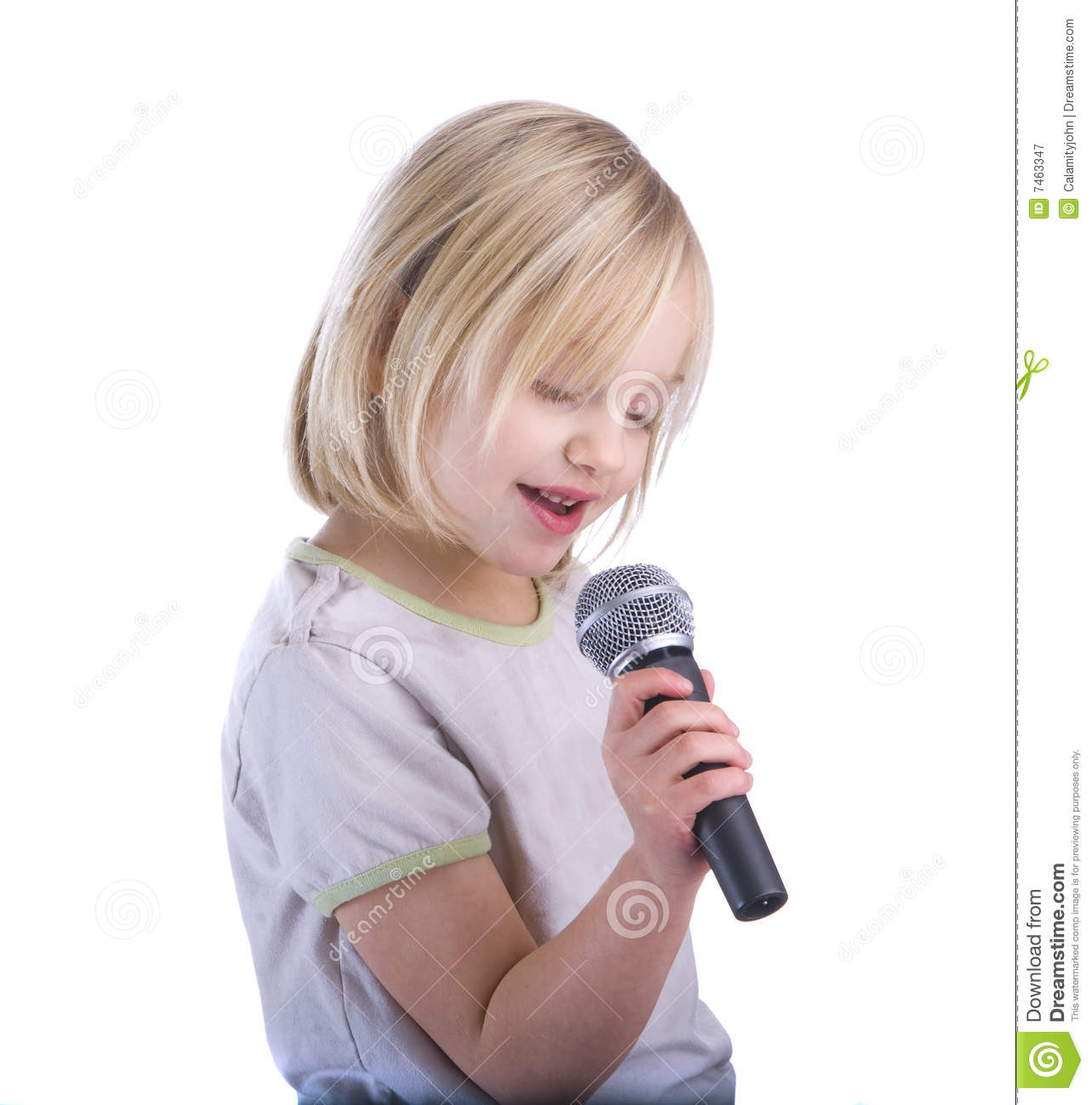 Child Singing Into Microphone Royalty Free Stock Photography - Image ...