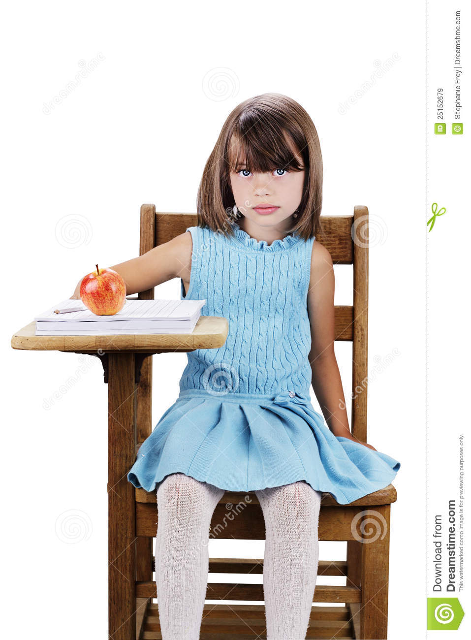Little Girl Sitting at Desk 957 x 1300