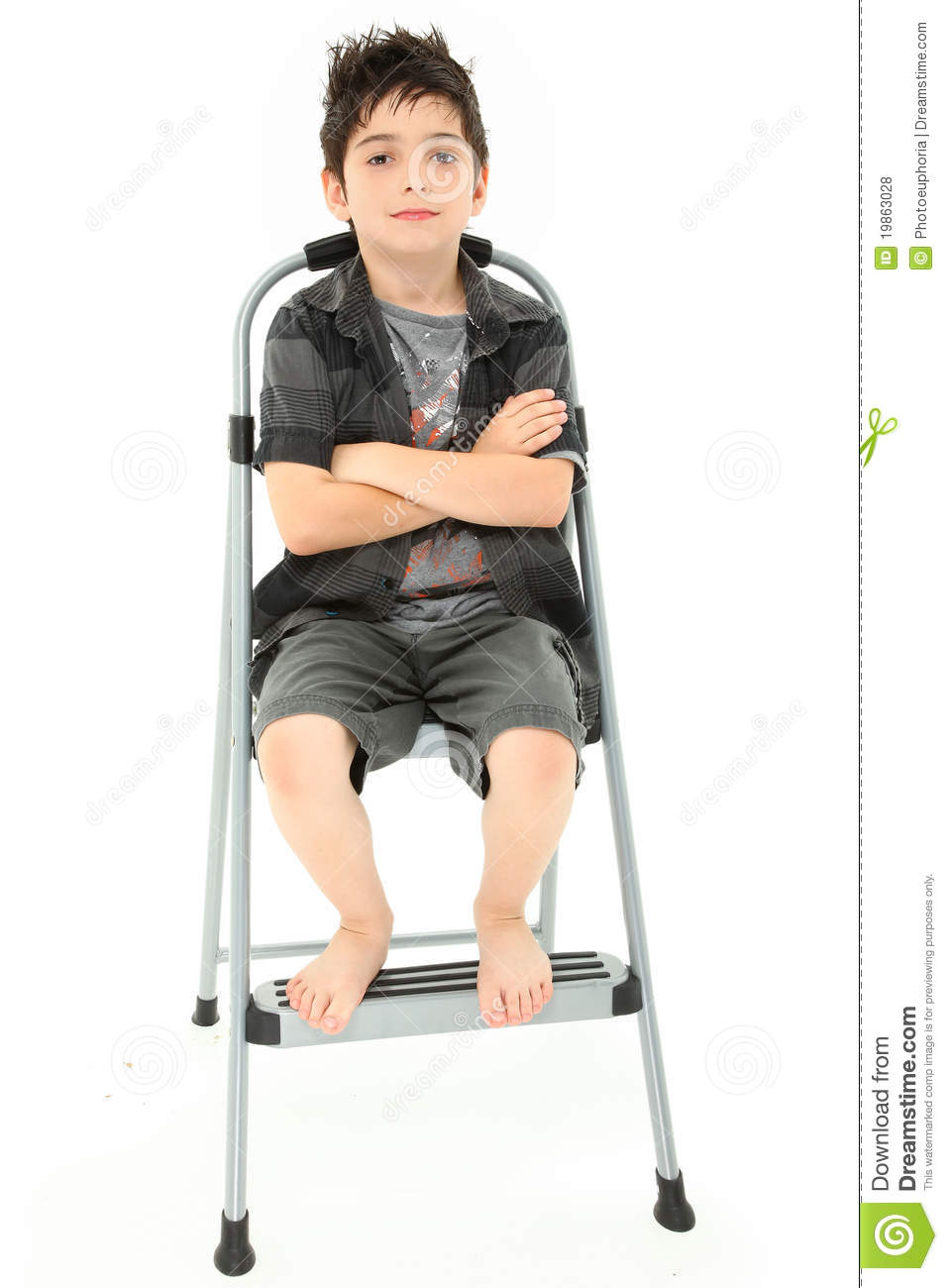 Child Sitting On Step Ladder Arms Crossed Royalty Free