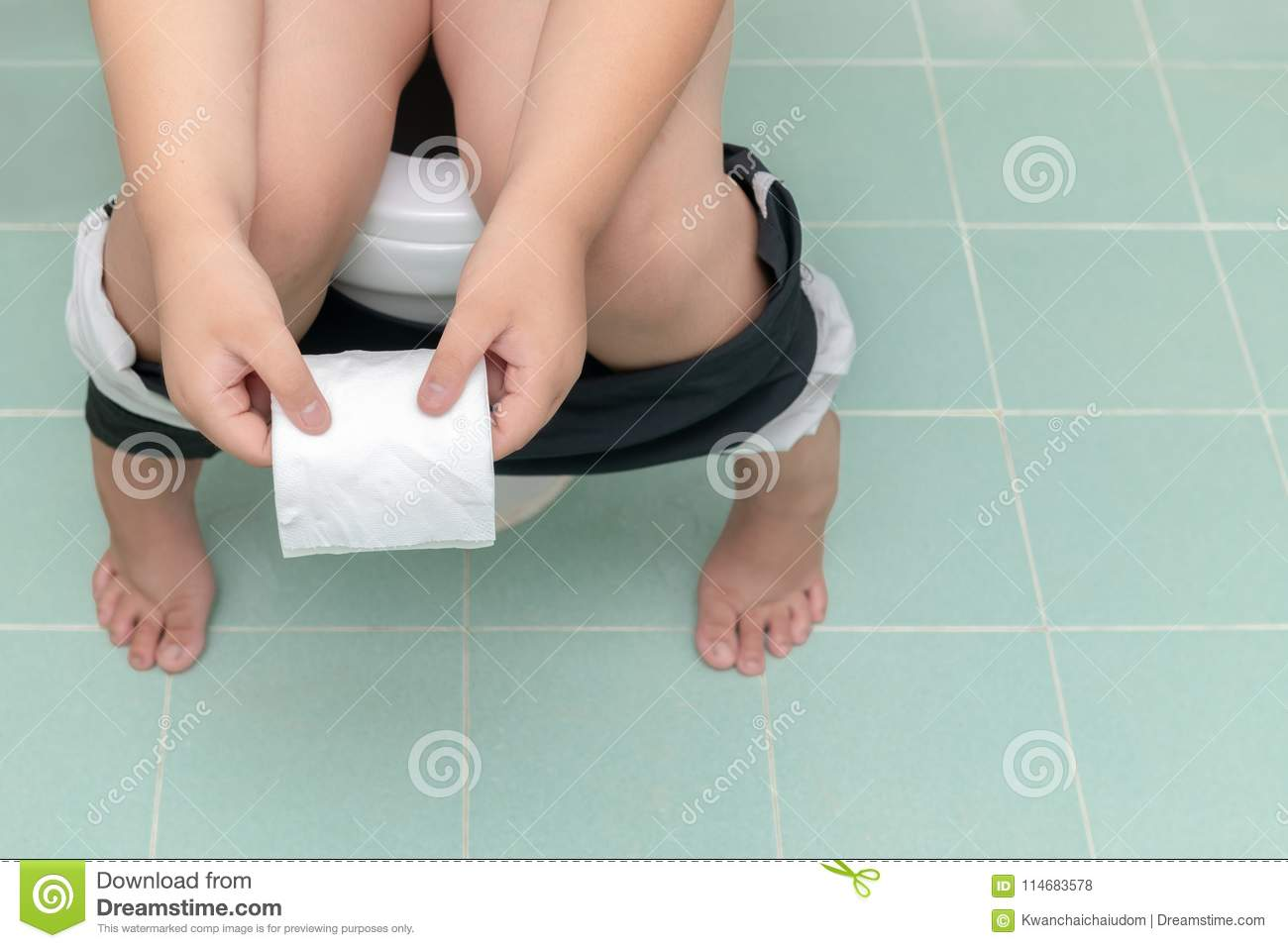 Baby Baby Sit On Toilet Stock Footage Video (100% Royalty
