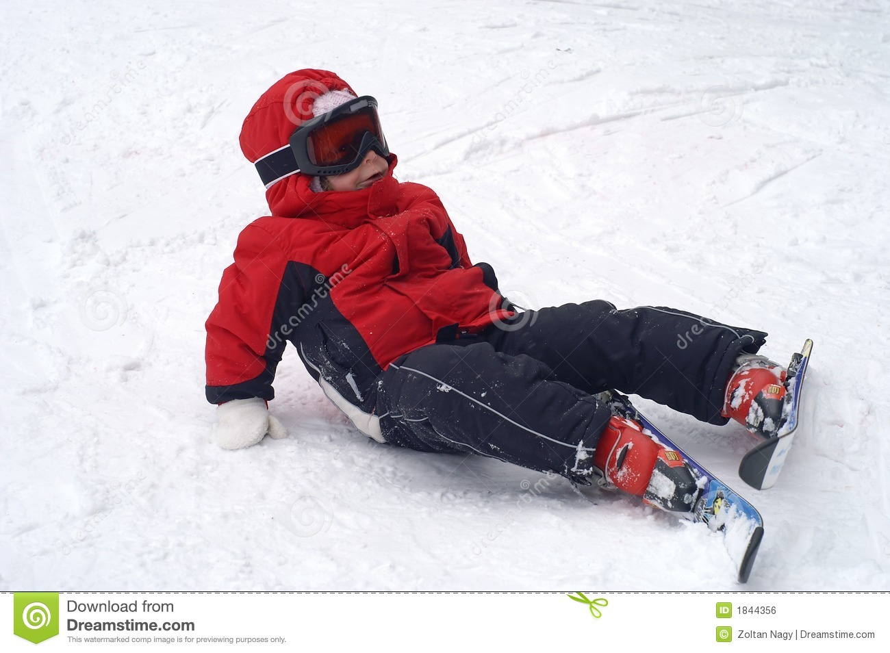 Child Ski Falling Stock Photo Image Of Coat Child