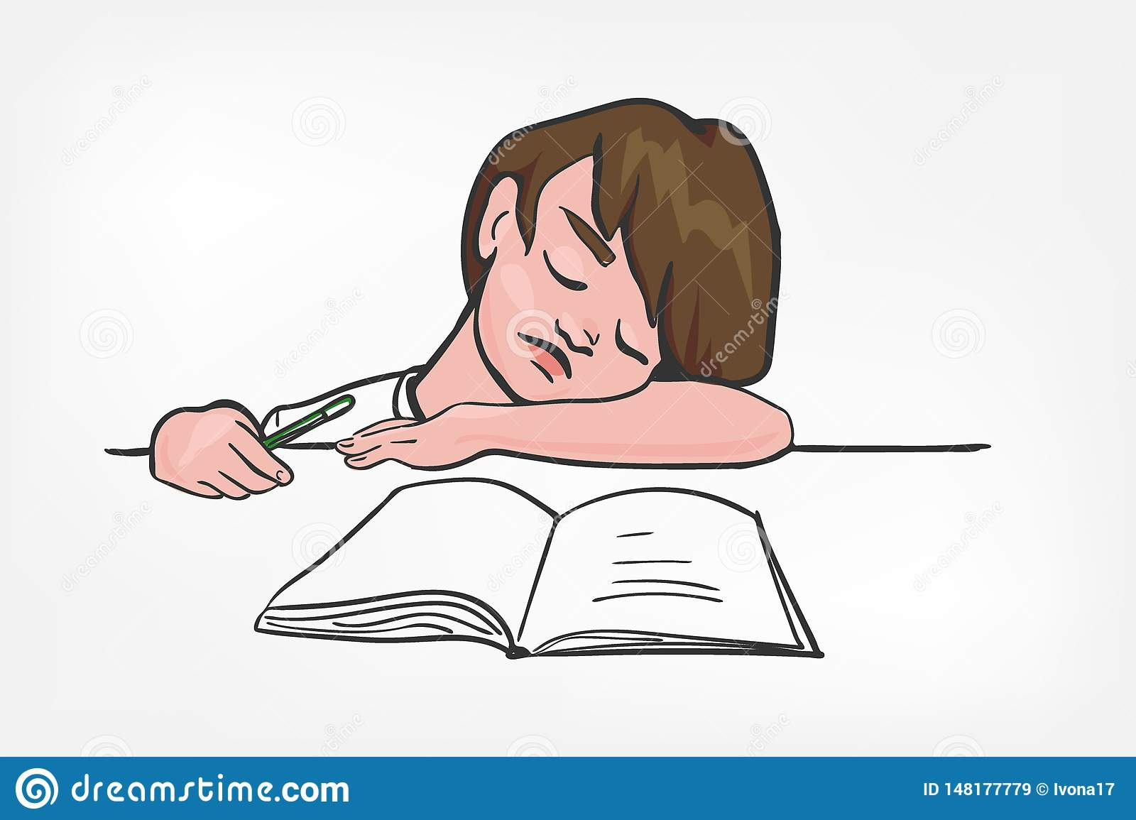 Child sleep doing study vector illustration clip art