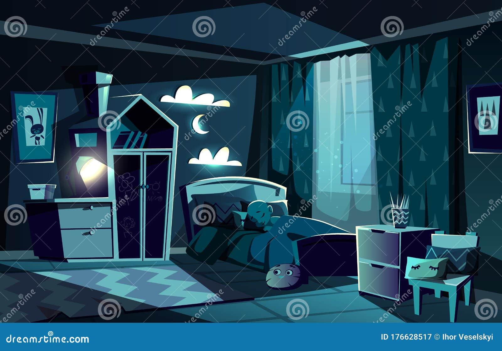 Child Sleeping In Bed In Bedroom Cartoon Stock Vector Illustration Of Calm Cartoon 176628517